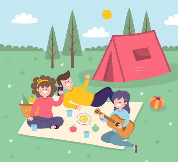 创意郊外野餐人物设计矢量下载