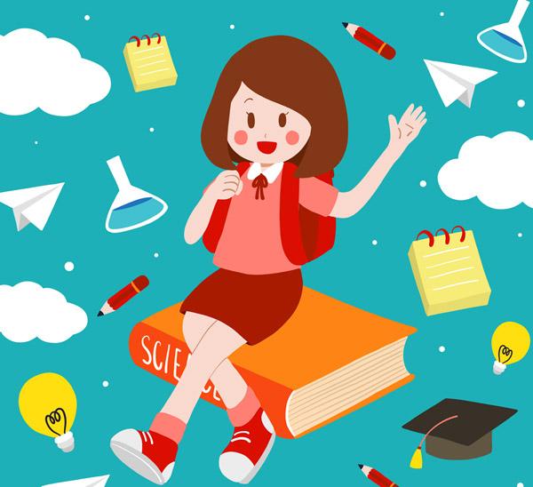 创意女学生和文具矢量素材