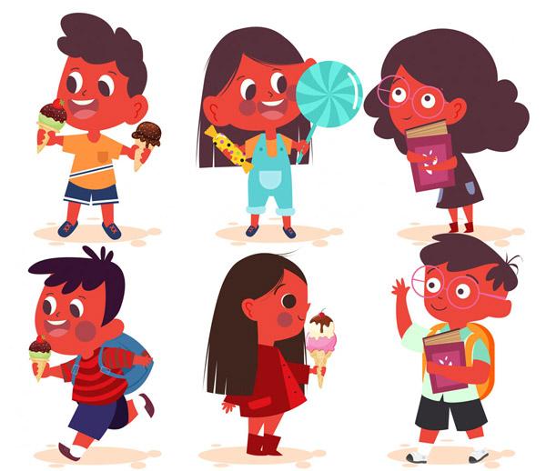 6款可爱男孩女孩设计矢量图片
