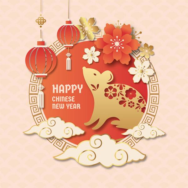 创意花卉老鼠新年贺卡图矢量图片