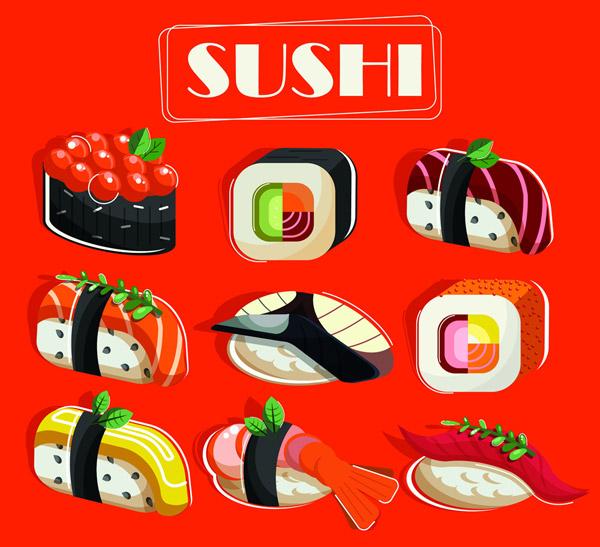 9款美味寿司设计矢量
