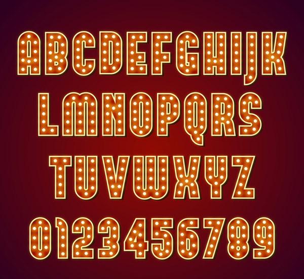 36个创意字母数字灯艺术字图矢量图