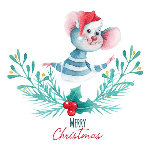 水彩绘圣诞老鼠和冬青贺卡图矢量下载