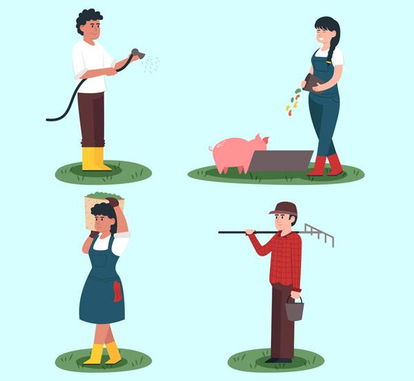4款创意农场人物矢量图片