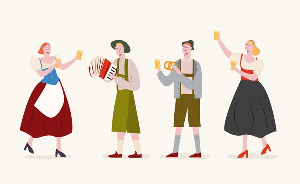 4款创意啤酒节男女矢量下载