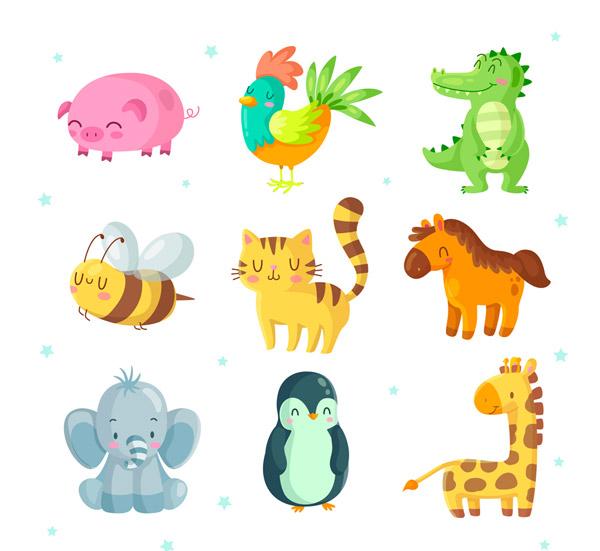 9款可爱微笑动物矢量图片