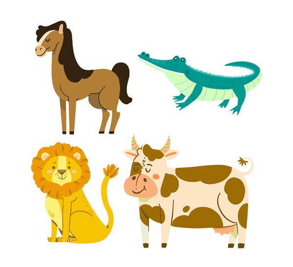 4款创意微笑动物矢量图