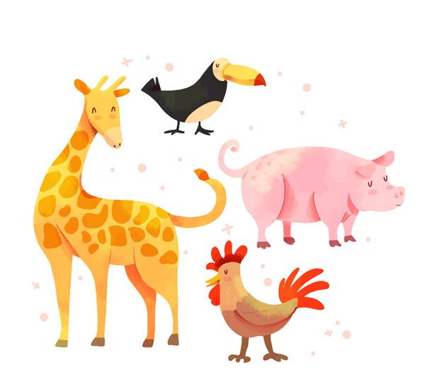 4款彩色闭眼睛动物矢量