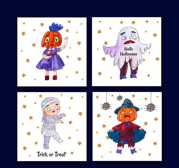 4款彩绘万圣节角色卡片设计矢量图下载