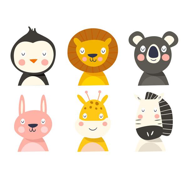 6款可爱闭眼动物头像矢量素材
