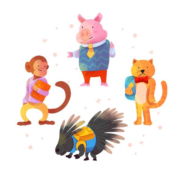 4款创意校园动物设计矢量