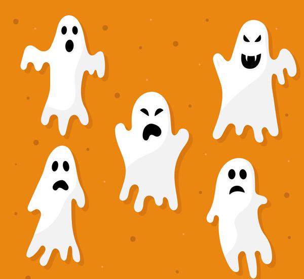 5款白色恐怖幽灵矢量下载