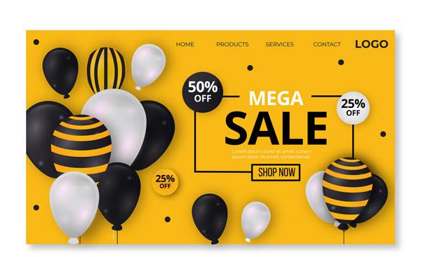 创意气球促销网站登陆界面图矢量下载