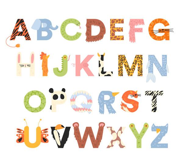 26个创意动物花纹字母矢量