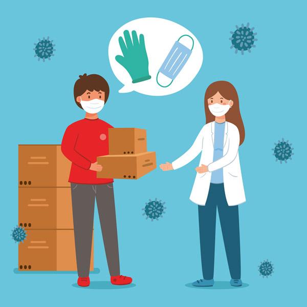 创意搬运医用口罩和手套包裹的人物图矢量