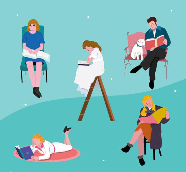 5款创意阅读书籍的人物矢量图片