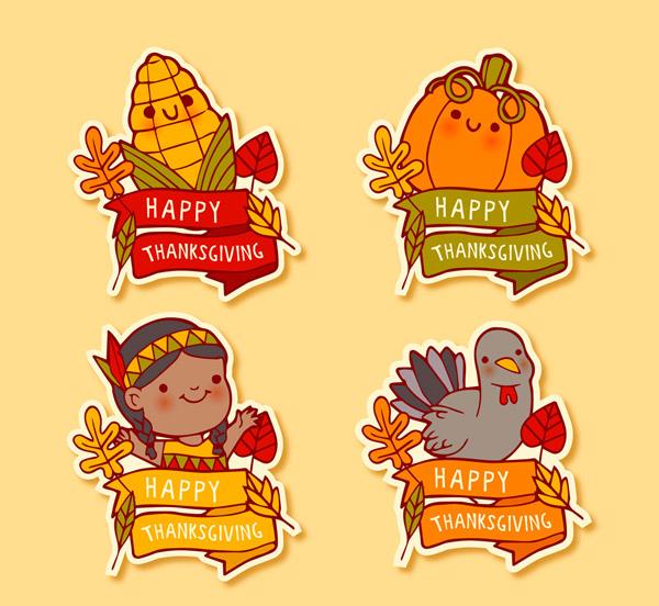 4款可爱感恩节快乐标签图矢量