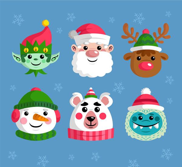 6款可爱笑脸圣诞节角色头像图矢量图片