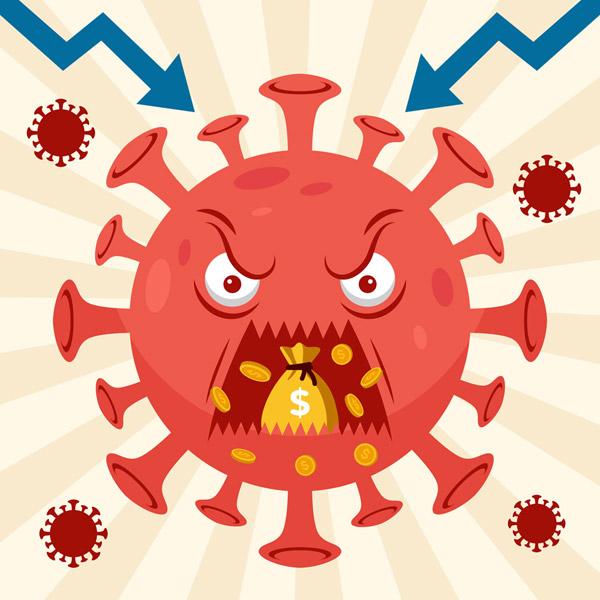 创意吞食金币的新型冠状病毒矢量图片