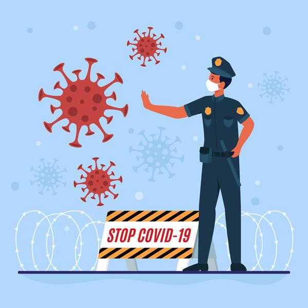 创意铁丝网制止病毒的警察图矢量