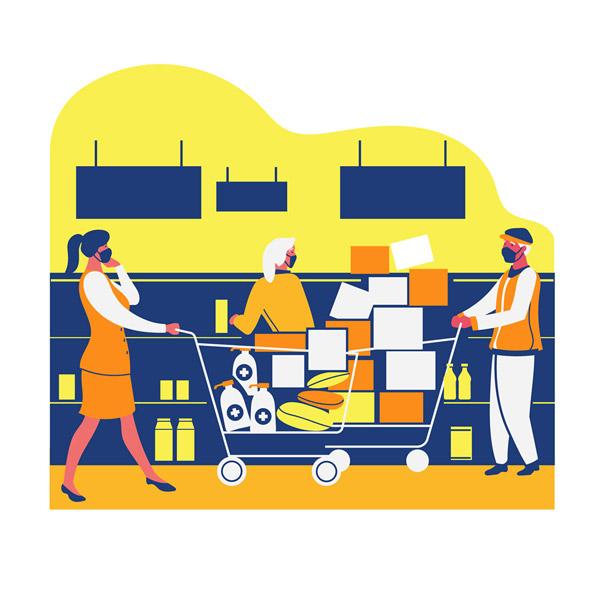 创意疫情期间超市囤货的人物图矢量图