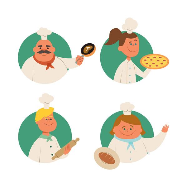 4款可爱厨师半身像矢量图