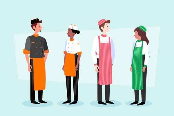 4款创意男女厨师设计矢量图片