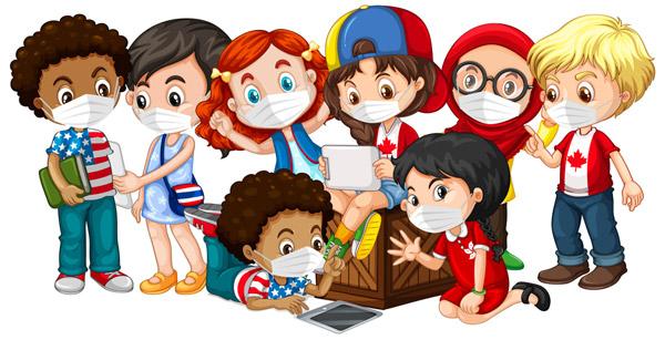 8款卡通戴口罩儿童矢量