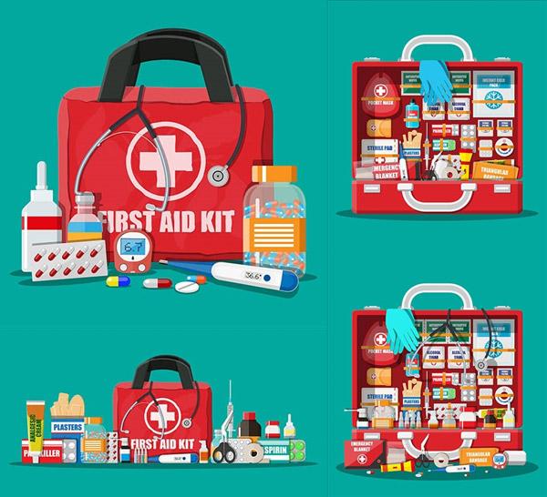 医疗药品与急救包主题设计矢量下载