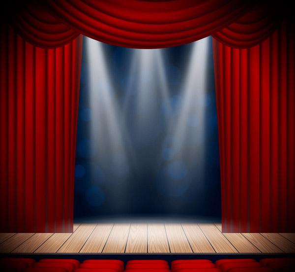 创意红色幕布舞台矢量