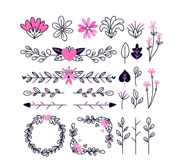 24款创意装饰花纹花卉矢量图