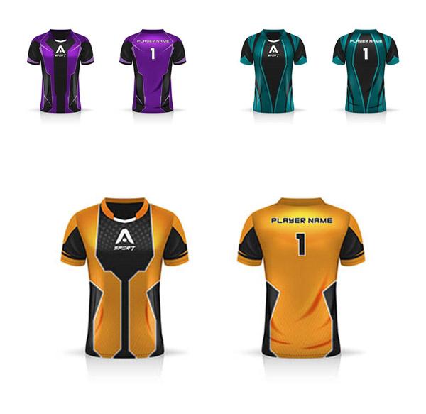 足球运动员服饰配色图案主题图矢量