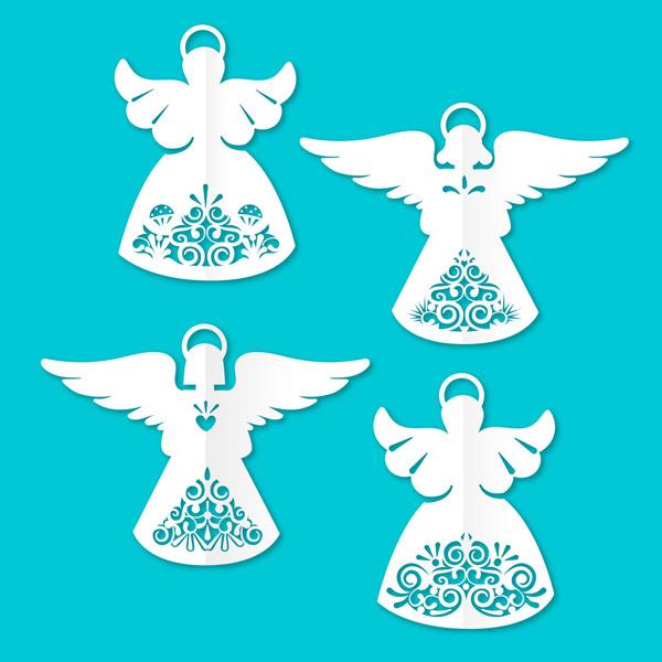 4款白色天使剪纸矢量图