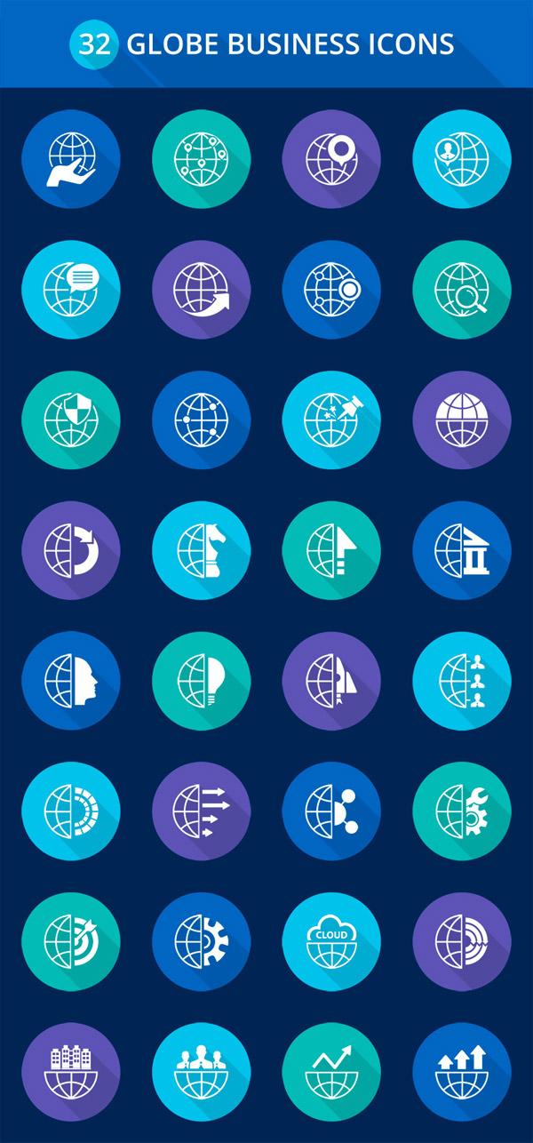 32个全球商业金融相关图标矢量素材