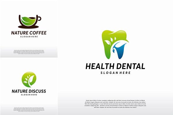 绿叶牙齿与咖啡等标志创意矢量图下载