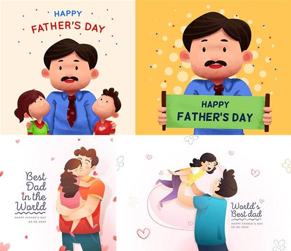 手绘心形装饰的父亲节插画矢量下载