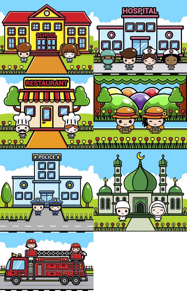 卡通人物与医院学校等建筑矢量图下载