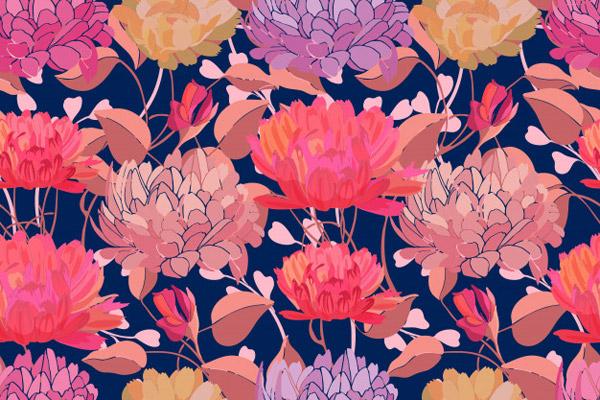 彩色的花卉艺术无缝图案背景矢量