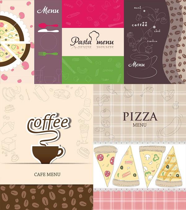 披萨与咖啡豆图案主题设计矢量图