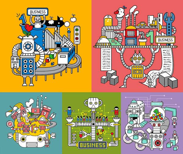 机器化作业卡通创意设计V01矢量素材