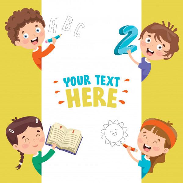 卡通儿童学习教育概念插画矢量下载