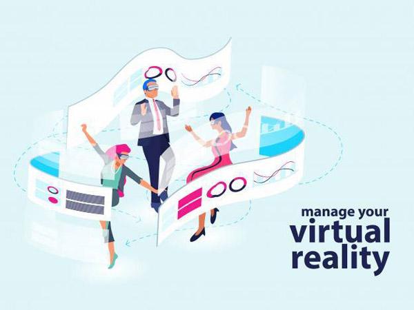 现代虚拟现实秀插画矢量图下载