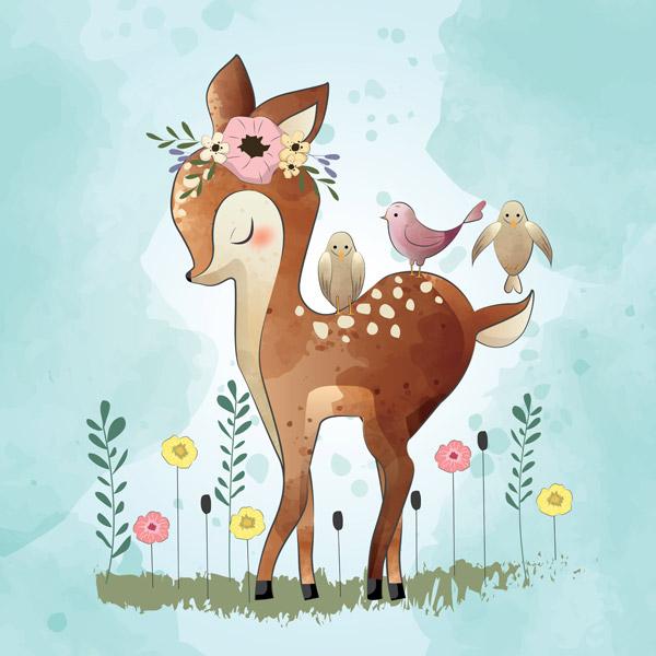 可爱的小鹿和他的朋友们矢量