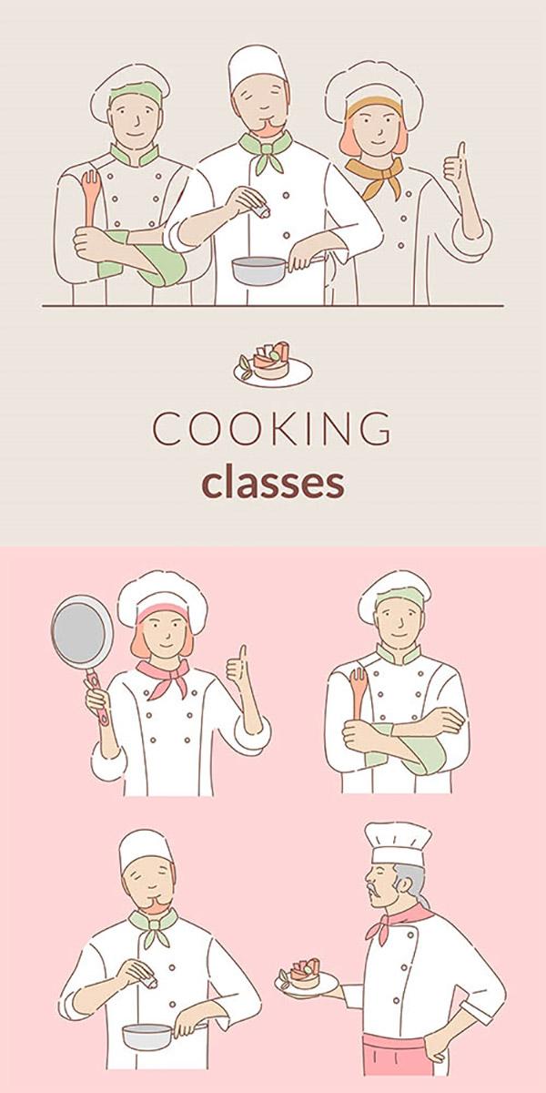 厨师简笔插画矢量素材
