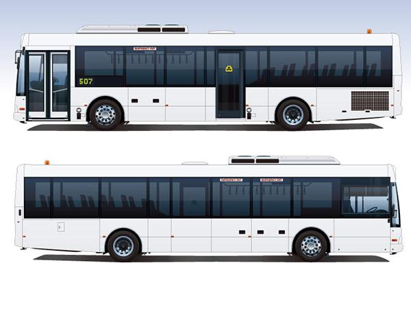 白色公交巴士矢量图