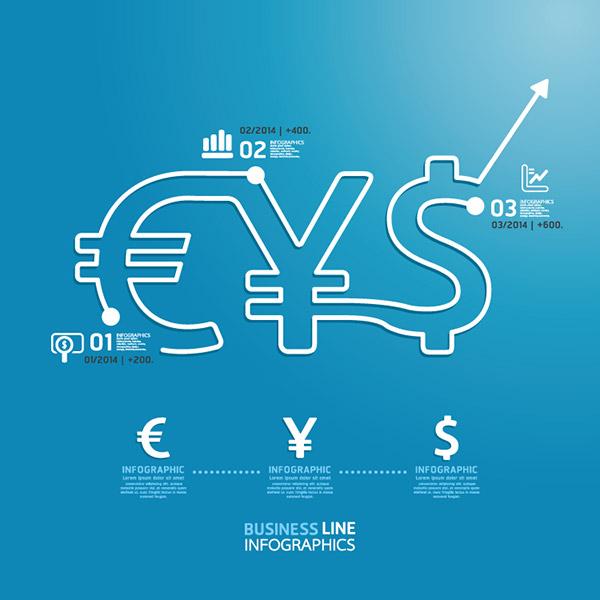 货币金融主题信息图矢量图片