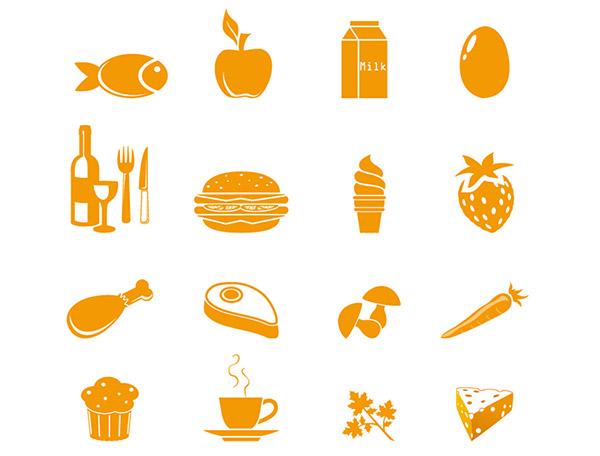 16个简约风格食品图标矢量图片