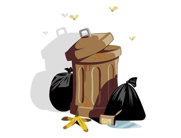 垃圾桶和垃圾袋矢量图下载