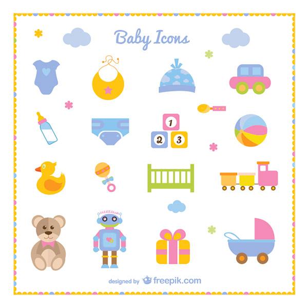 婴儿用品和玩具图标矢量