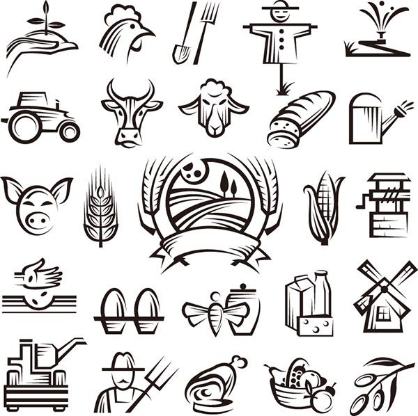 手绘农场主题图标矢量图
